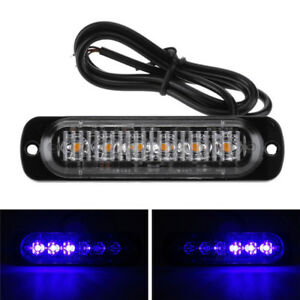 1x Car Motorcycle Blue Emergency Lights Warning Emergency Flash Strobe 12v 24v