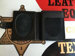 Tex Shoemaker Leather Basketweave Police Wallet Oval Badge And Id Holder