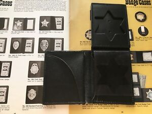 Tex Shoemaker Police Sheriff 6 Pt Badge Id Wallet Black Basketweave Leather