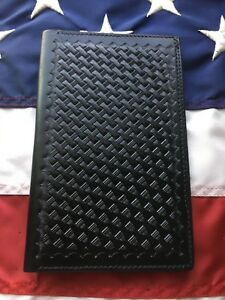 Tex Shoemaker Note Pad Holder Basketweave Leather 7 1 4 x4 1 2 Fire Ems Police