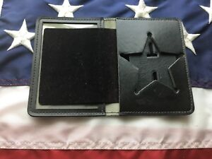 Vintage Police Badge And Id Wallet Black Leather 3 5 Pt Star