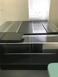 6 Full Vision Used Black Retail Glass Display Case assembled