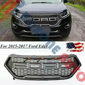 2015 17 Ford Edge Raptor Style Matt Black Led Front Bumper Grille With Letters