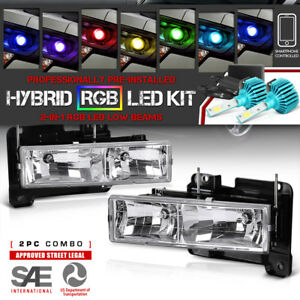 multi color Led Low Beam 1988 1998 Chevy Gmc Silverado Sierra Headlights Pair