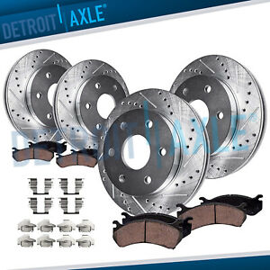 Chevy Silverado Gmc Sierra 1500 Front Rear Drilled Brake Rotors Ceramic Pads