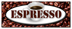 72 Espresso Banner Sign Coffee Shop Cafe Beans Cappuccino Hot Bar Latte