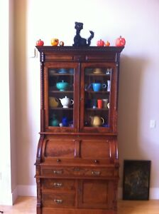 Victorian Antique Walnut Cylinder Roll Top Secretary Desk Bookcase