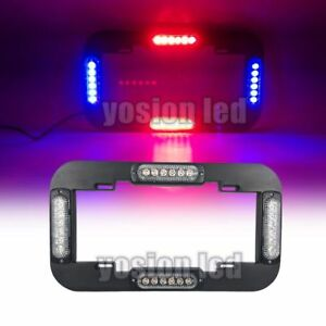13 5 24 W Led Number License Plate Lamp Light Flash Warning Strobe Blue red 12v