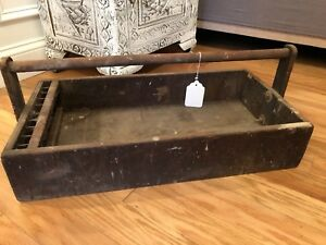Old Vintage Antique Wooden Carpenters Tool Box Primitive Carrying Tote Caddy