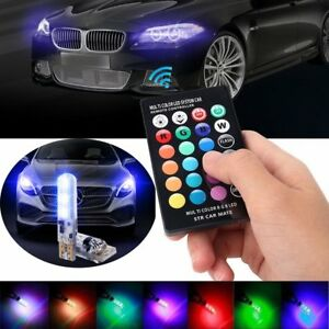 2pcs T10 5050 Led Rgb Multi Color Wedge Light Flash Strobe Bulbs Remote Control