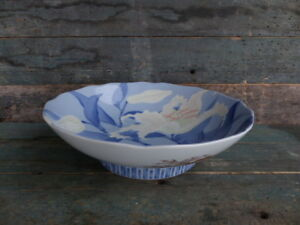 Old Chinese Blue White Porcelain Bowl Easter Lily Pattern Signed Mark