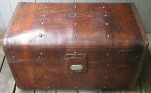 Antique 19th Century Tooled Full Leather Crouch Fitzgerald Travel Trunk Chest
