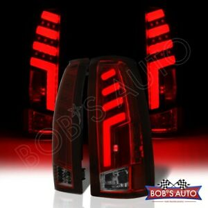 For 92 99 Suburban Escalade Yukon Tahoe spartan Red Smoke 3d Led Taillights