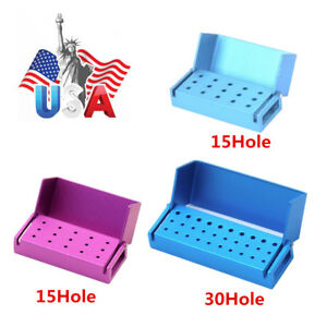 1 5 10 Aluminium Dental Burs Holder Block Disinfection Box Autoclave 15 30 Holes