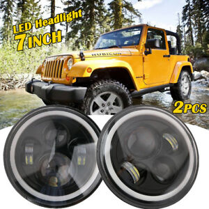 2x 7 Inch Round Angel Eye Led Headlight Hi Lo For Jeep Wrangler Jk Tj Lj 97 17