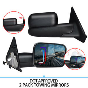 Left right Fit 02 08 Dodge Ram 1500 03 09 2500 3500 Tow Manual Side Mirrors