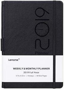 Planner 2019 Academic Weekly Monthly And Year Planner With Pen Loop black
