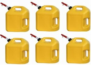 6 Ea Midwest 8600 5 Gallon Yellow Poly Diesel Fuel Can Containers W Spouts