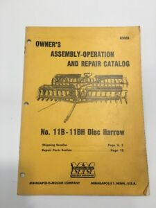 Minneapolis moline 11b 11h Disc Harrow Owner Assembly Operation And Repair R3003