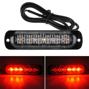 1 X Red Led Lights Car Motorcycle Warning Emergency Flash Strobe Lamp Waterproof