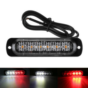 1 Pc Car Motorcycle Red White Led 12v 24v Warning Emergency Flash Strobe Lights