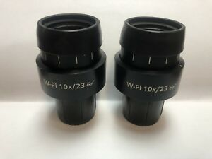 Zeiss W pl 10 23 Microscope Eyepieces 455043 Wide Plan Adjustable 30mm Axio