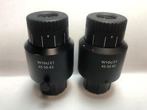 Zeiss W 10x 21 Part 455042 Microscope Eyepieces 30mm Adjustable Wide