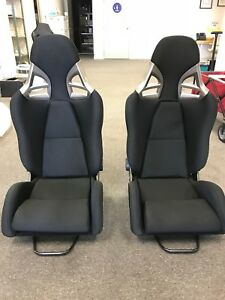 Porsche 997 Gt3 Style Racing Seats Black Cloth W Caron Fiber Euro Gt2 Pair