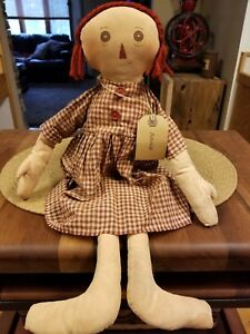 Primitive Annie Doll Country Fabric Cloth Rag Americana Folk Art Farmhouse