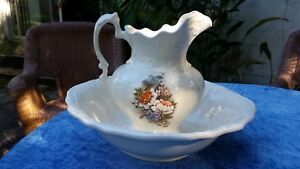 Vintage Embossed Oval Shape Wash Basin Bowl 17 X 15 3 4 Water Pitcher