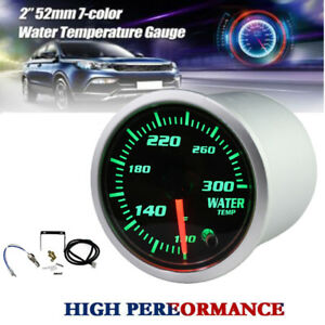 Universal 2 52mm Car Water Temp Gauge Digital Led Light Display 7 Colors