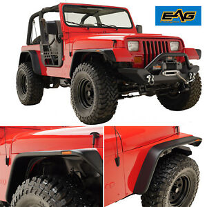 Eag 87 95 Jeep Yj Wrangler Flat Style Front Rear Fender Flares Led Side Light