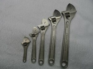 Craftsman 4 6 8 10 12 Adjustable Wrench Set Made In Usa 5 Pcs