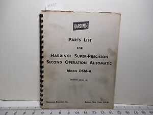 Hardinge Dsm a Second Operation Automatic Parts List Ma95
