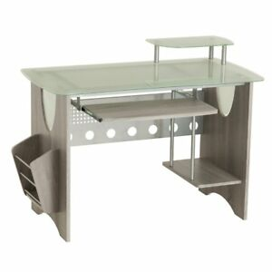 Stylish Frosted Glass Top Computer Desk With Storage Grey