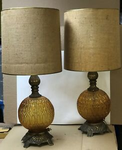 Pair Of Vintage Amber Glass Globe Table Lamps Retro Hollywood Regency W Shades