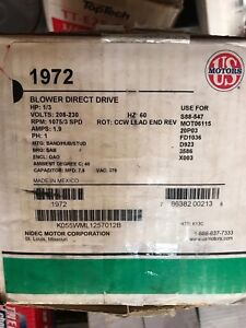 U s Motors 1972 Blower Direct Drive Motor 1 3hp 1075 Rpm 3 speed 1ph