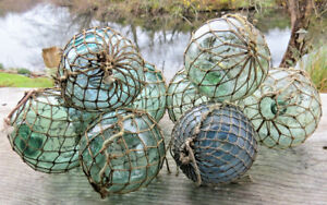 Japanese Glass Fishing Floats 3 3 5 Lot 9 Antique Nets Maritime Relics Vntg