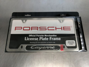Genuine Porsche Cayenne Brushed Stainless License Plate Frame Pna70301600