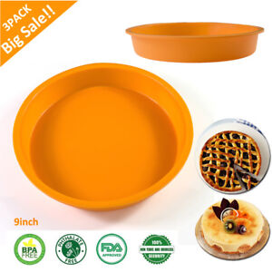 3Pack Round Silicone Cake Mold Pan Muffin Chocolate Pizza Baking Mould Bakeware