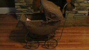 Vintage Wicker Baby Buggy Doll Carriage Full Size Excellent Condition
