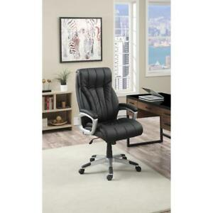 Office Chair With Cushioned Leatherette Seat Black