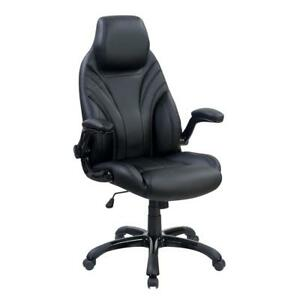 Leatherette Upholstered Adjustable Metal Office Chair With Headrest Black