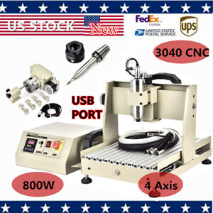 Ups 4 Axis Usb Router Engraver 3040 800w Vfd Drilling Engraving Milling Machine