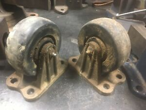 Vintage Bond Foundry Machine Cast Iron Caster Wheels Rigid 5 Heavy Duty