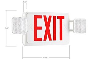 Spectsun Ac Exit Sign With Red Emergency Exit Light Backup Battery aa4