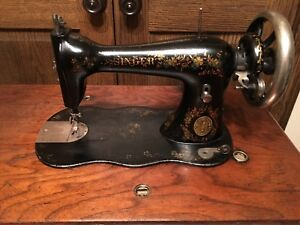 Antique Singer Sewing Machine With Treadle Fiddlebase Hand Painted 1886