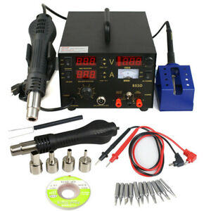 3 In 1 853d Dc Power Supply Smd Rework Station Soldering Hot Air Gun Welder 110v