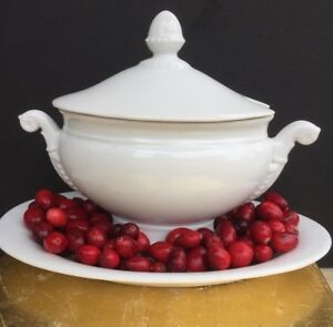 Antique French White Porcelain White Ironstone Small Tureen Gravy Sauce Dish