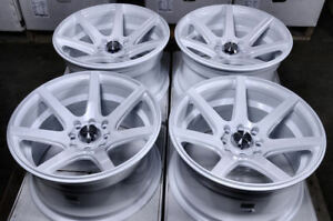 15 4x100 4x114 3 White Rims Fits Honda Fit Civic Insight Jetta Aveo 4 Lug Wheels